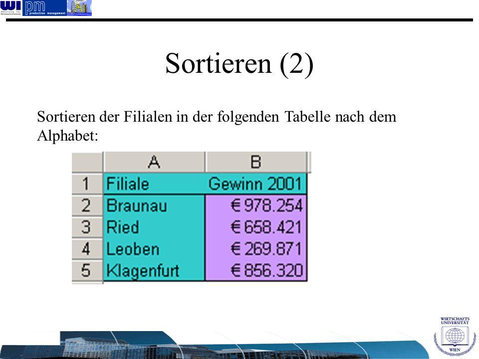 Sortieren (2) Sortieren der Filialen in der folgenden Tabelle nach dem Alphabet: