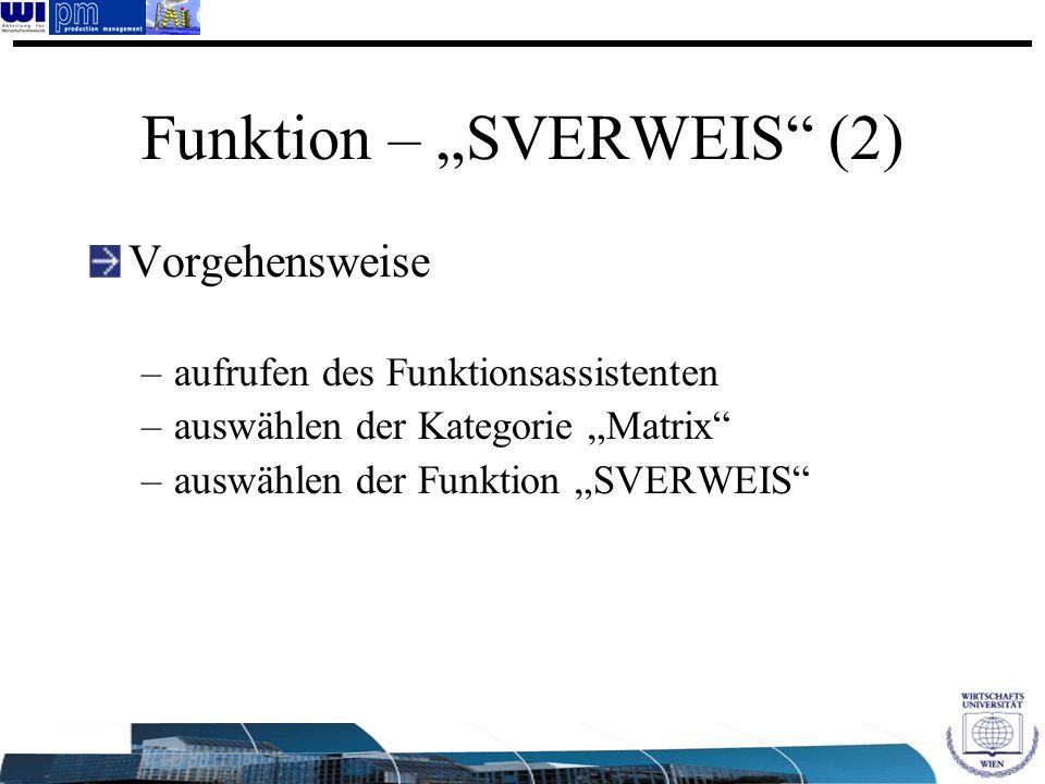 """Funktion – """"SVERWEIS (2)"""