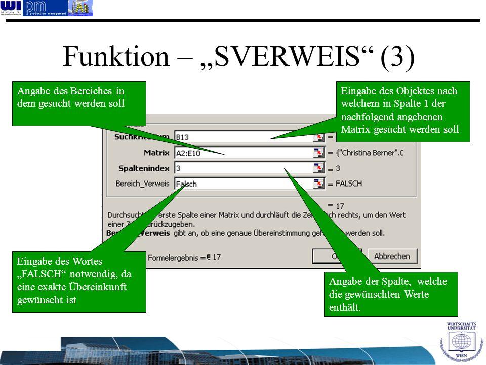 """Funktion – """"SVERWEIS (3)"""