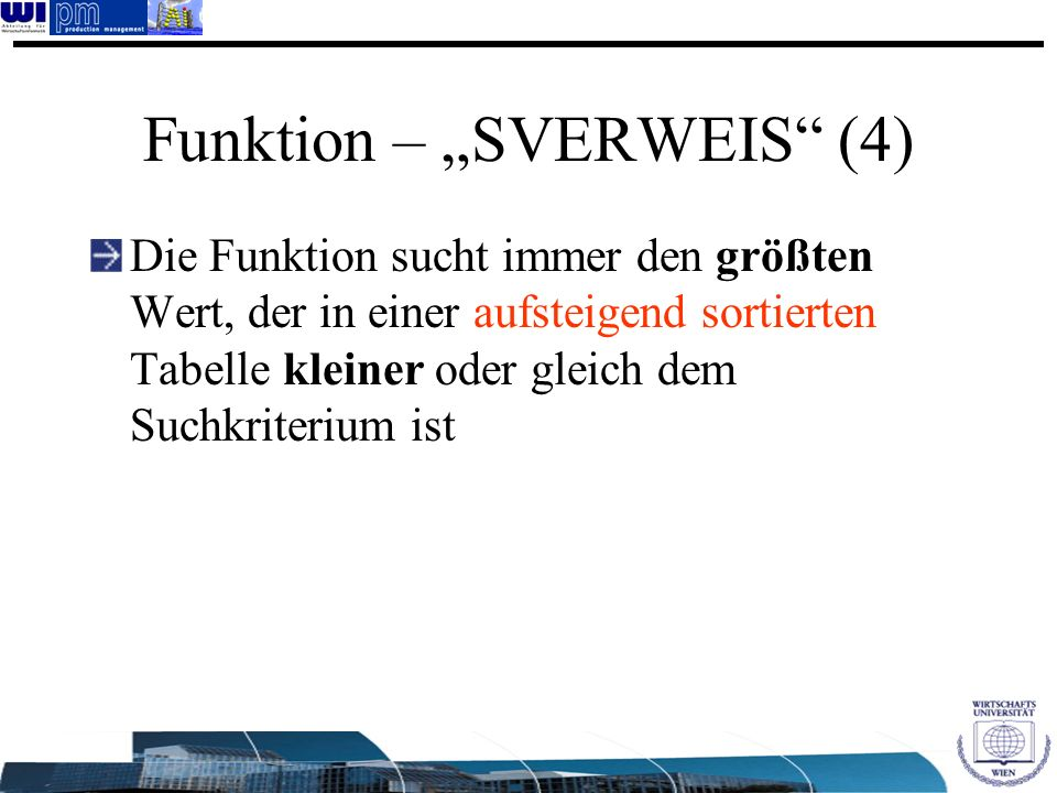 """Funktion – """"SVERWEIS (4)"""