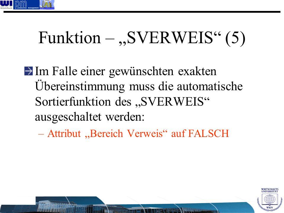 """Funktion – """"SVERWEIS (5)"""