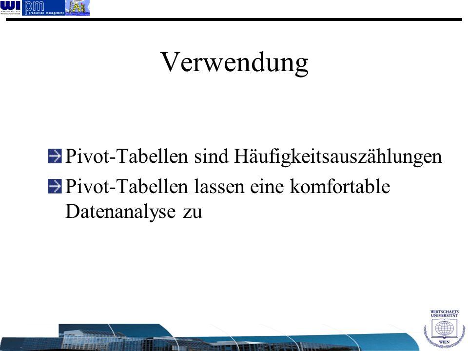 Verwendung Pivot-Tabellen sind Häufigkeitsauszählungen