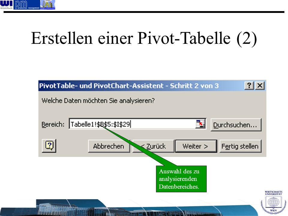 Erstellen einer Pivot-Tabelle (2)