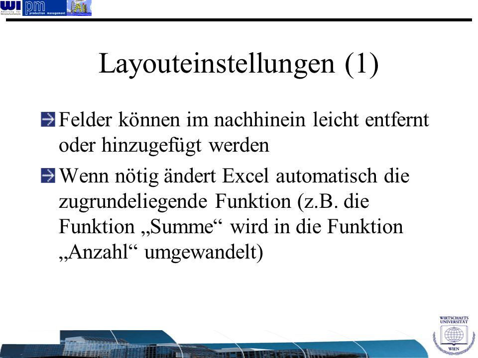 Layouteinstellungen (1)