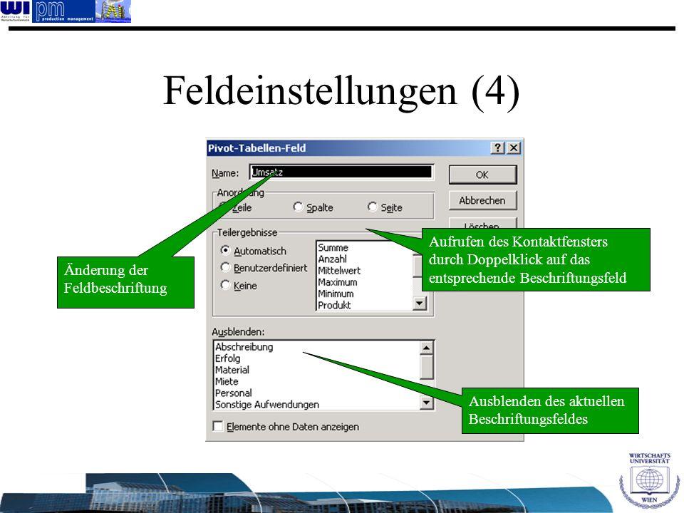 Feldeinstellungen (4) Aufrufen des Kontaktfensters durch Doppelklick auf das entsprechende Beschriftungsfeld.