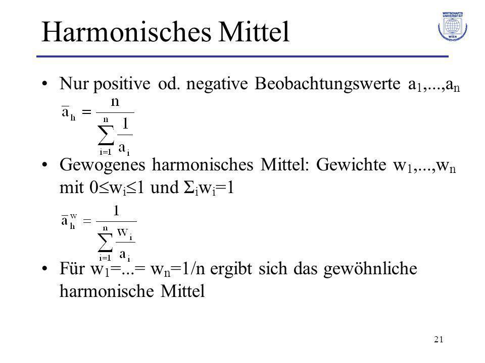 Harmonisches Mittel Nur positive od. negative Beobachtungswerte a1,...,an. Gewogenes harmonisches Mittel: Gewichte w1,...,wn mit 0wi1 und Σiwi=1.
