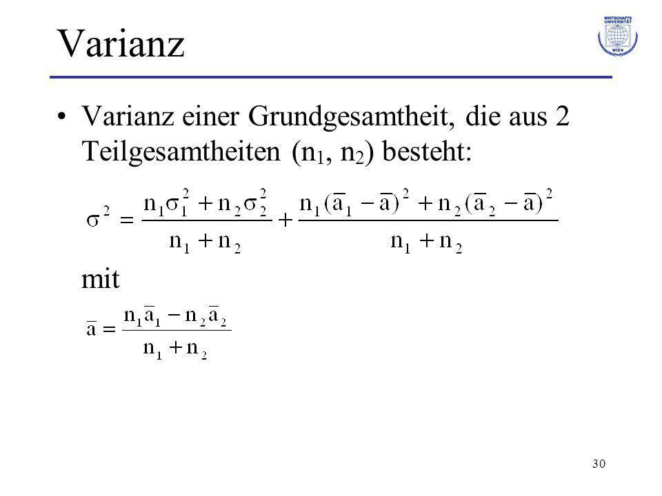 Varianz Varianz einer Grundgesamtheit, die aus 2 Teilgesamtheiten (n1, n2) besteht: mit