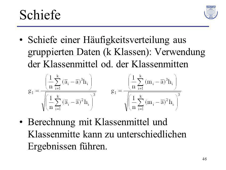 Schiefe Schiefe einer Häufigkeitsverteilung aus gruppierten Daten (k Klassen): Verwendung der Klassenmittel od. der Klassenmitten.