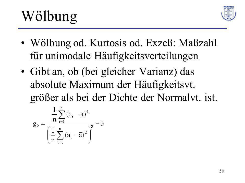 Wölbung Wölbung od. Kurtosis od. Exzeß: Maßzahl für unimodale Häufigkeitsverteilungen.