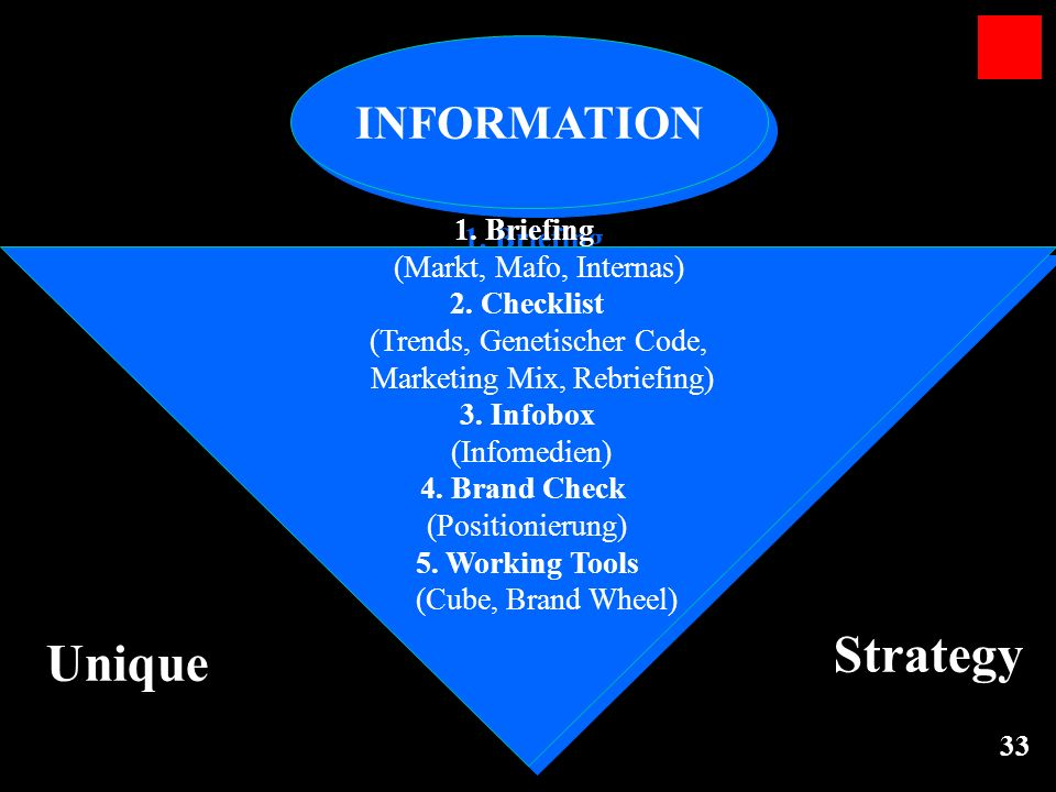 Strategy Unique INFORMATION 1. Briefing (Markt, Mafo, Internas)