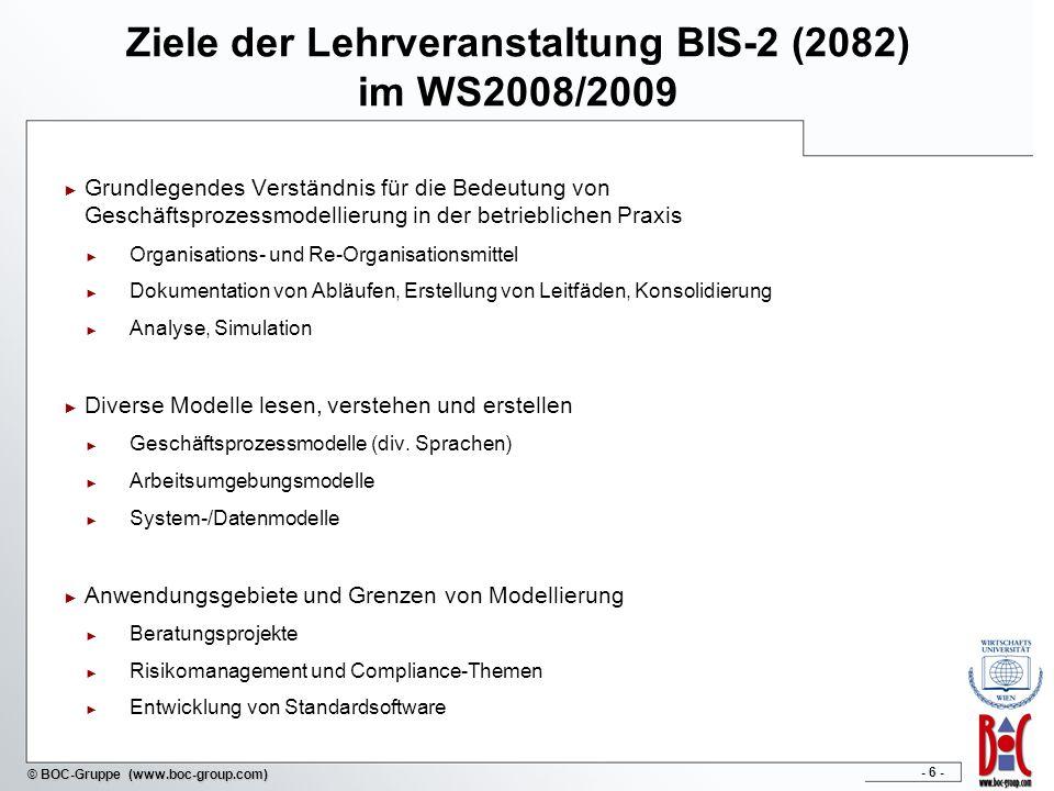 Ziele der Lehrveranstaltung BIS-2 (2082) im WS2008/2009