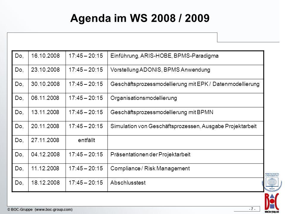 Agenda im WS 2008 / 2009Do, 16.10.2008. 17:45 – 20:15. Einführung, ARIS-HOBE, BPMS-Paradigma. 23.10.2008.