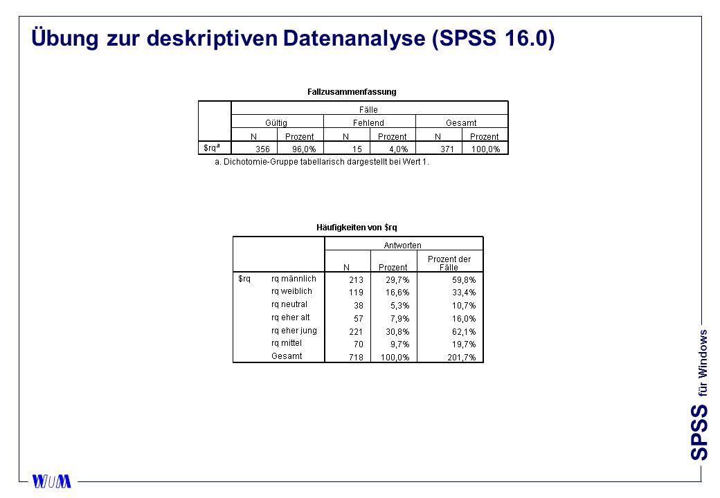 Übung zur deskriptiven Datenanalyse (SPSS 16.0)
