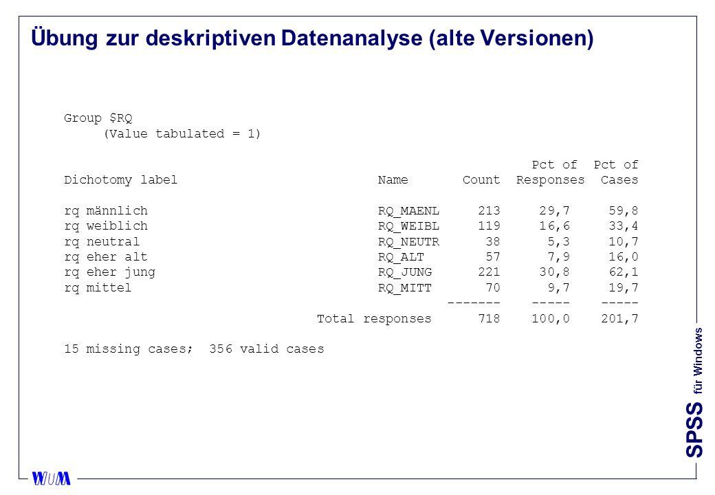 Übung zur deskriptiven Datenanalyse (alte Versionen)