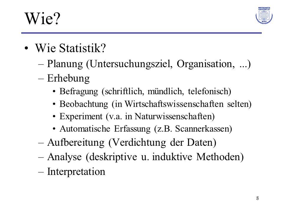 Wie Wie Statistik Planung (Untersuchungsziel, Organisation, ...)