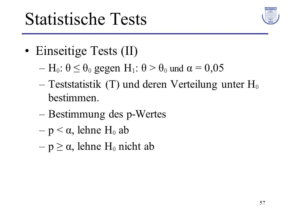 Statistische Tests Einseitige Tests (II)