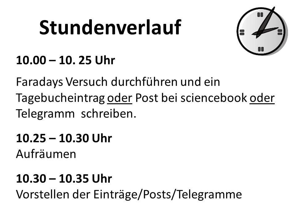 Stundenverlauf 10.00 – 10. 25 Uhr. Faradays Versuch durchführen und ein Tagebucheintrag oder Post bei sciencebook oder Telegramm schreiben.