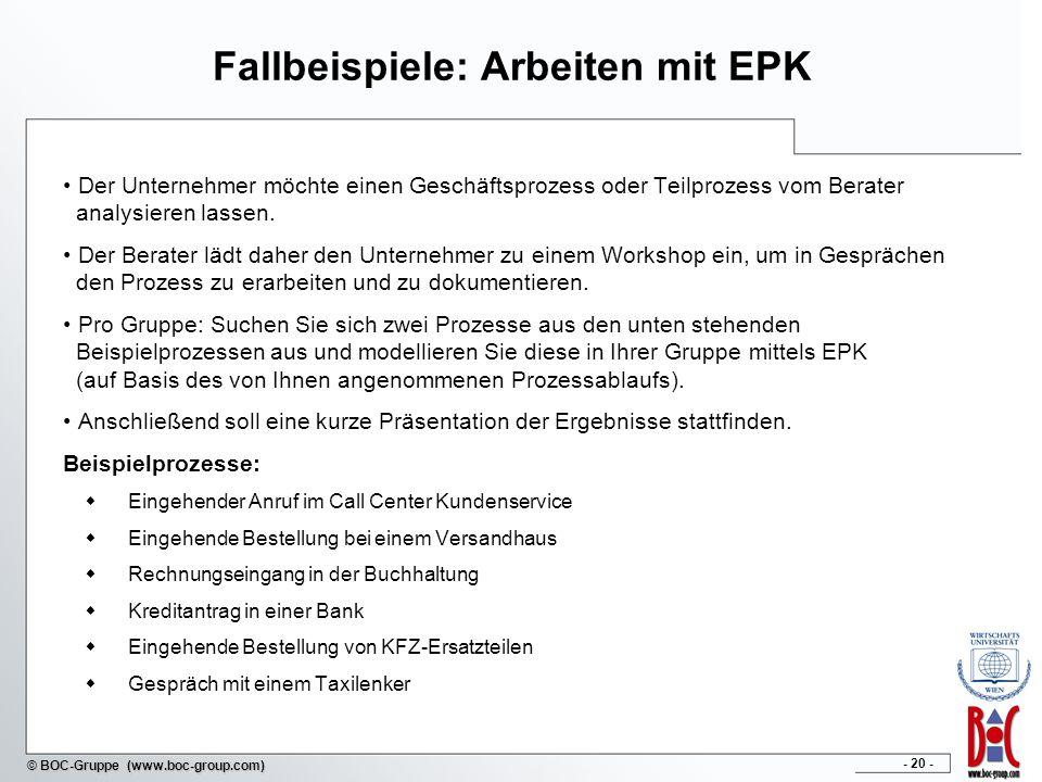 Fallbeispiele: Arbeiten mit EPK