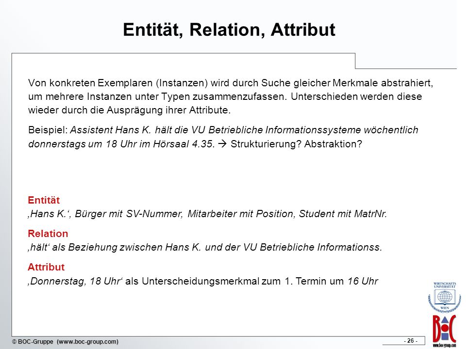Entität, Relation, Attribut