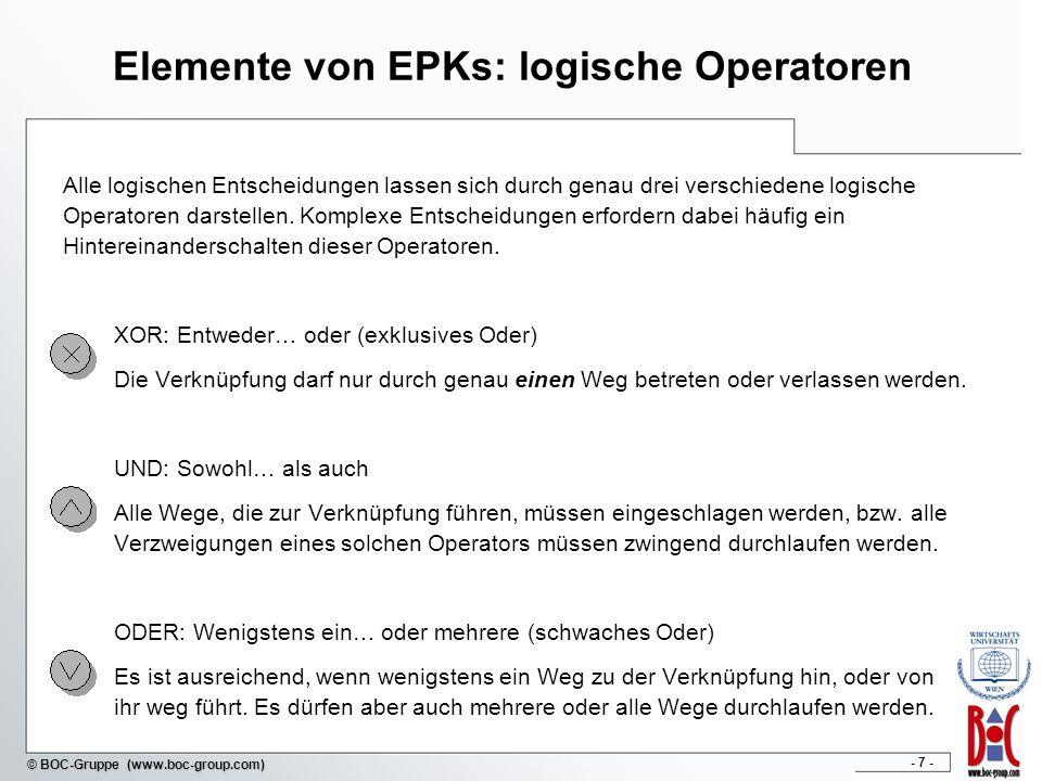 Elemente von EPKs: logische Operatoren