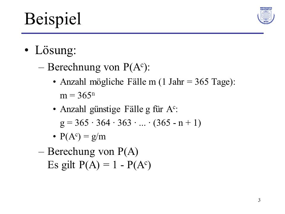 Beispiel Lösung: Berechnung von P(Ac):