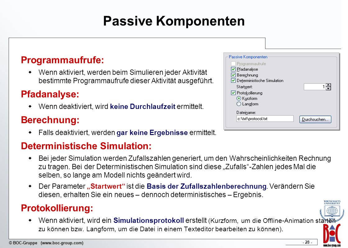 Passive Komponenten Programmaufrufe: Pfadanalyse: Berechnung: