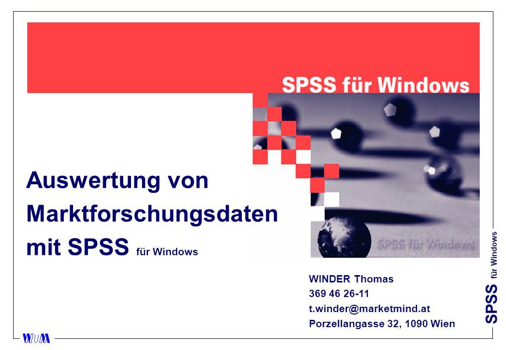 Marktforschungsdaten mit SPSS für Windows