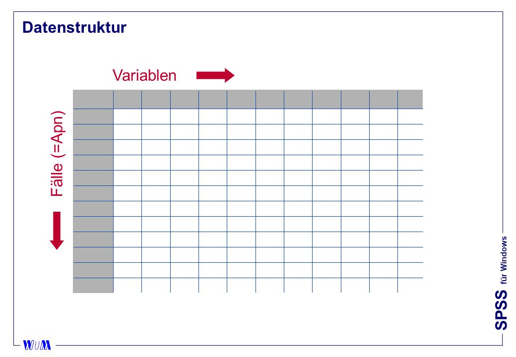 Datenstruktur Variablen Fälle (=Apn)