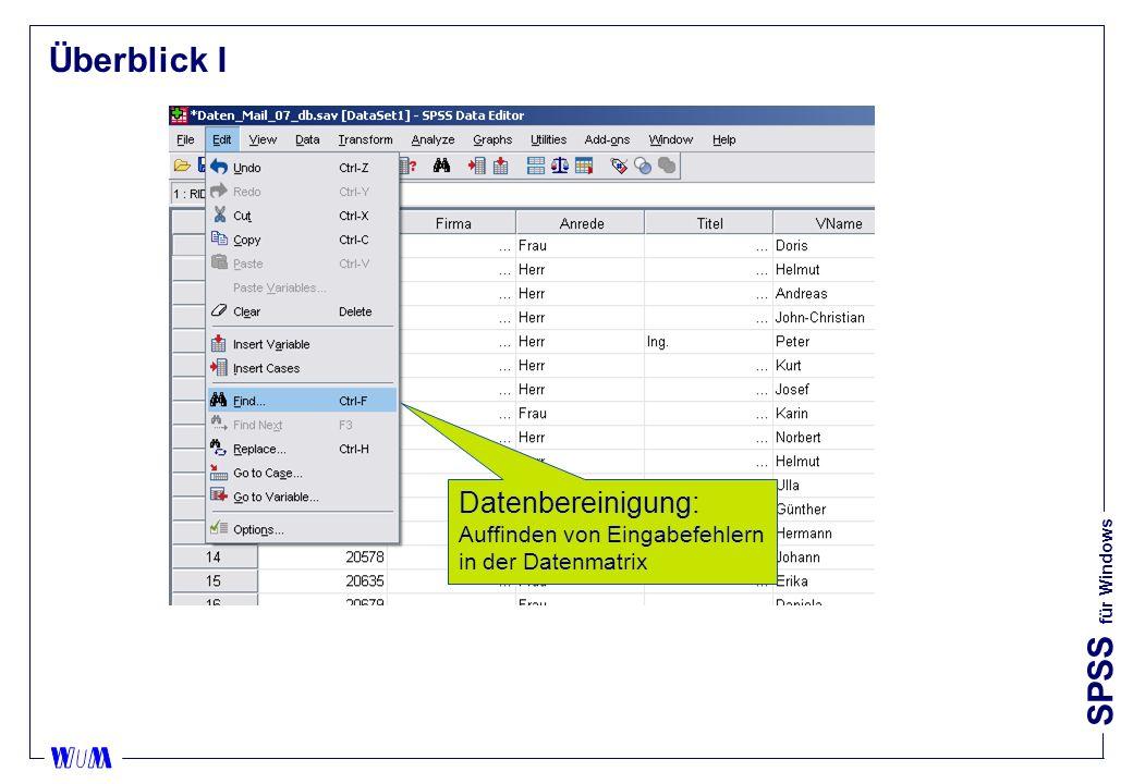 Überblick I Datenbereinigung: Auffinden von Eingabefehlern in der Datenmatrix