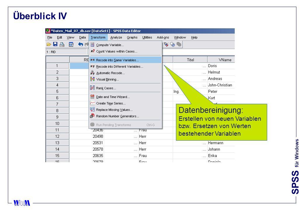 Überblick IV Datenbereinigung: Erstellen von neuen Variablen bzw.
