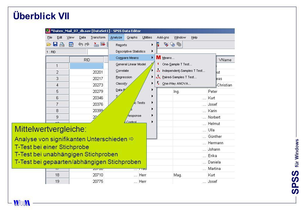 Überblick VII Mittelwertvergleiche: Analyse von signifikanten Unterschieden  T-Test bei einer Stichprobe.