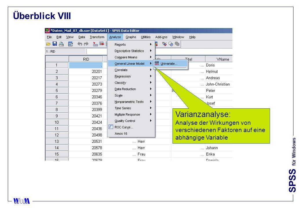 Überblick VIII Varianzanalyse: Analyse der Wirkungen von verschiedenen Faktoren auf eine abhängige Variable.