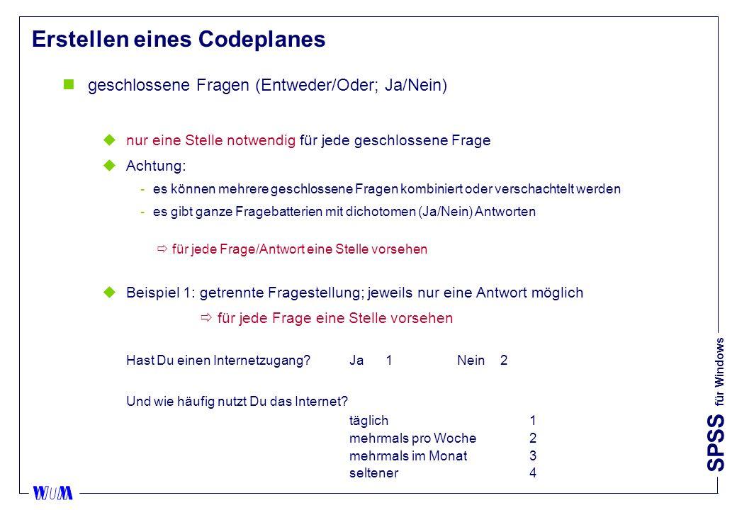 Erstellen eines Codeplanes