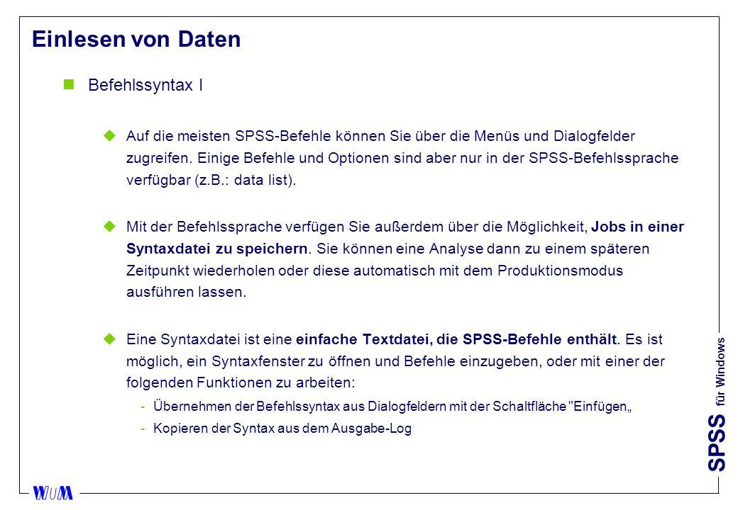 Einlesen von Daten Befehlssyntax I