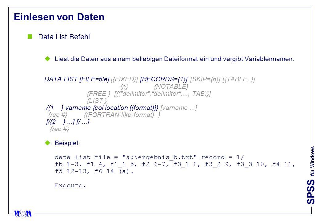 Einlesen von Daten Data List Befehl