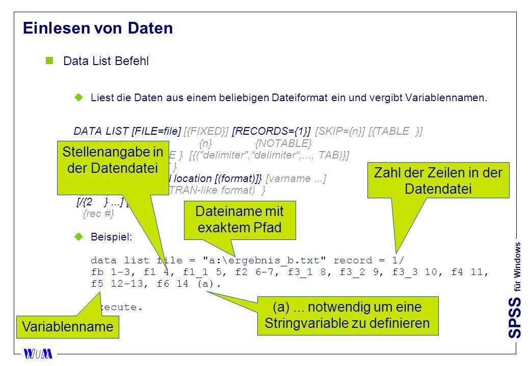 Einlesen von Daten Stellenangabe in der Datendatei