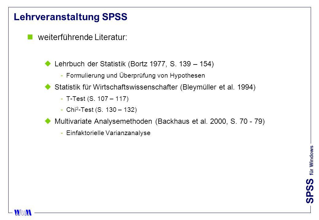 Lehrveranstaltung SPSS