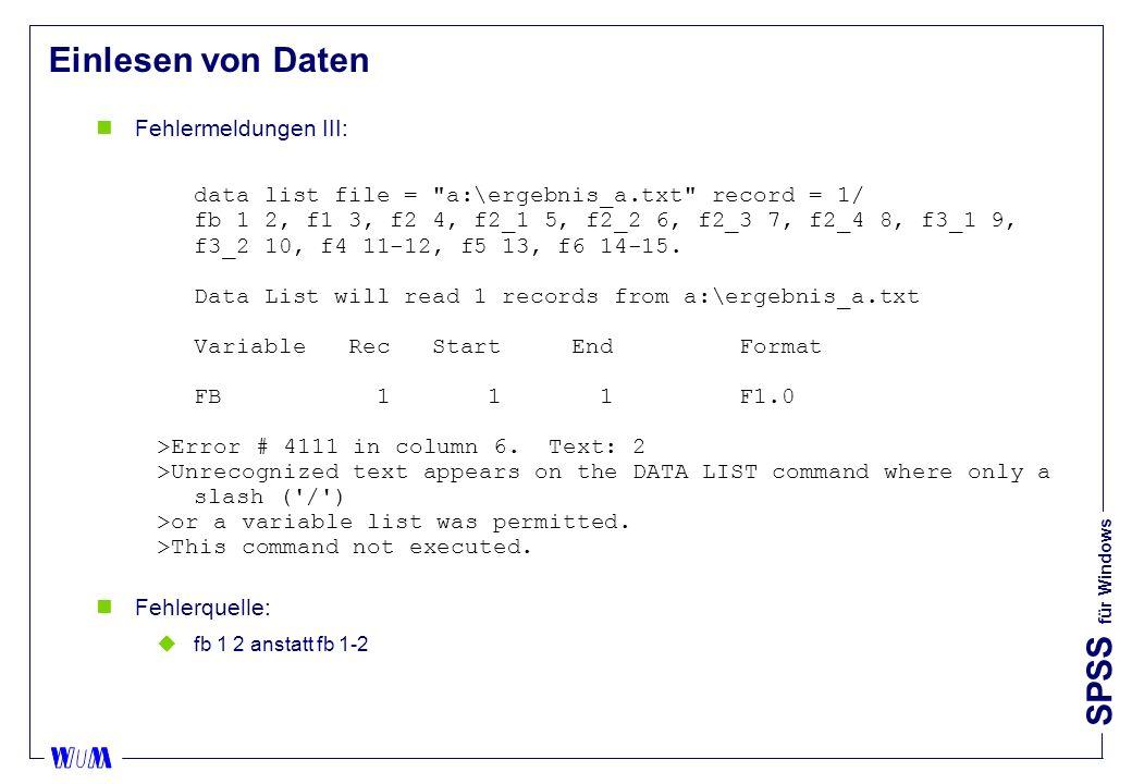 Einlesen von Daten Fehlermeldungen III: