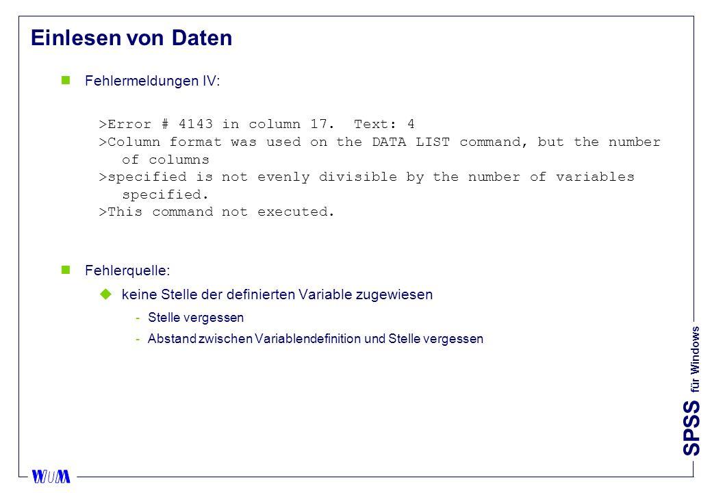 Einlesen von Daten Fehlermeldungen IV: