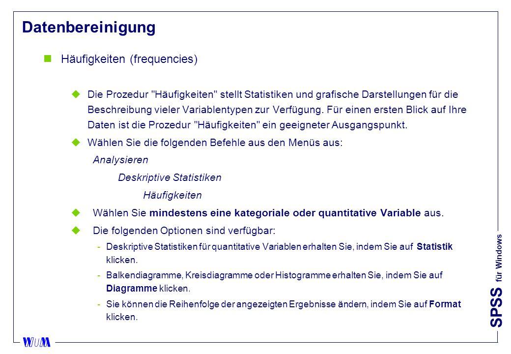 Datenbereinigung Häufigkeiten (frequencies)
