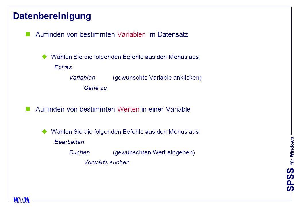 Datenbereinigung Auffinden von bestimmten Variablen im Datensatz