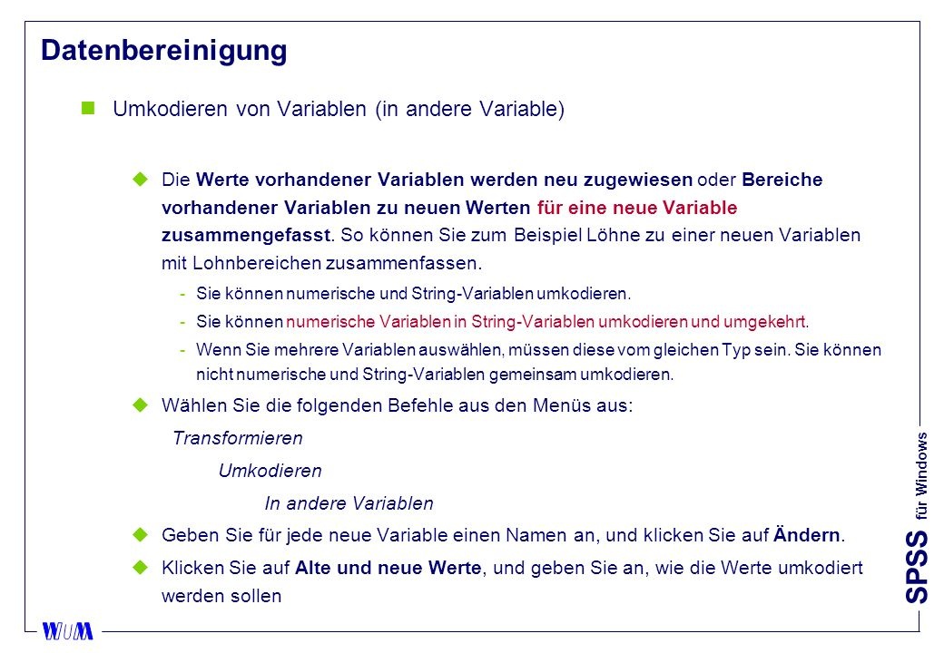 Datenbereinigung Umkodieren von Variablen (in andere Variable)