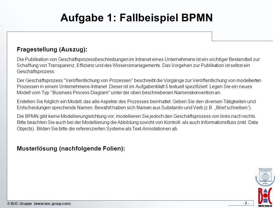 Aufgabe 1: Fallbeispiel BPMN