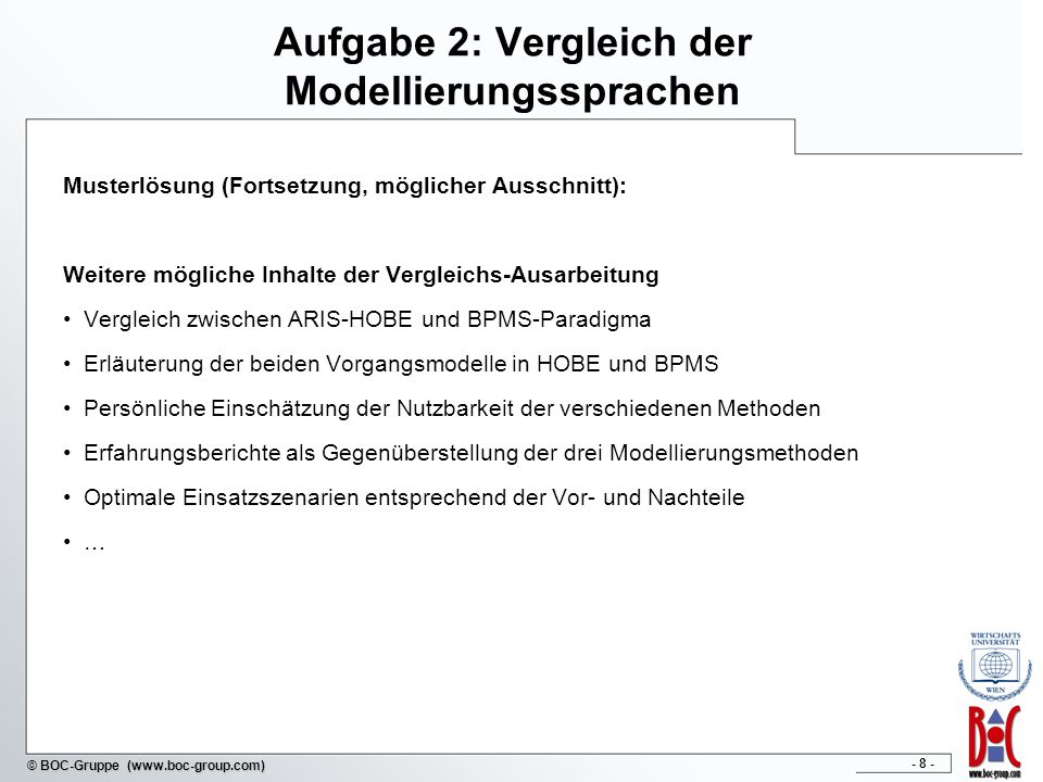 Aufgabe 2: Vergleich der Modellierungssprachen