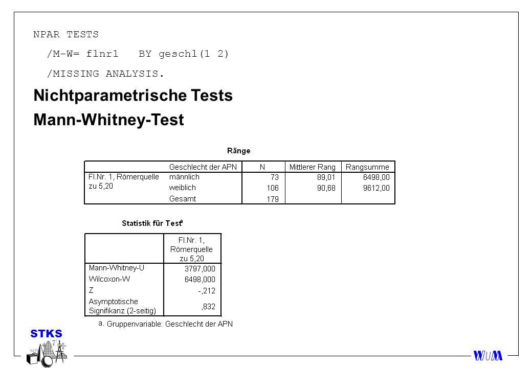 Nichtparametrische Tests Mann-Whitney-Test