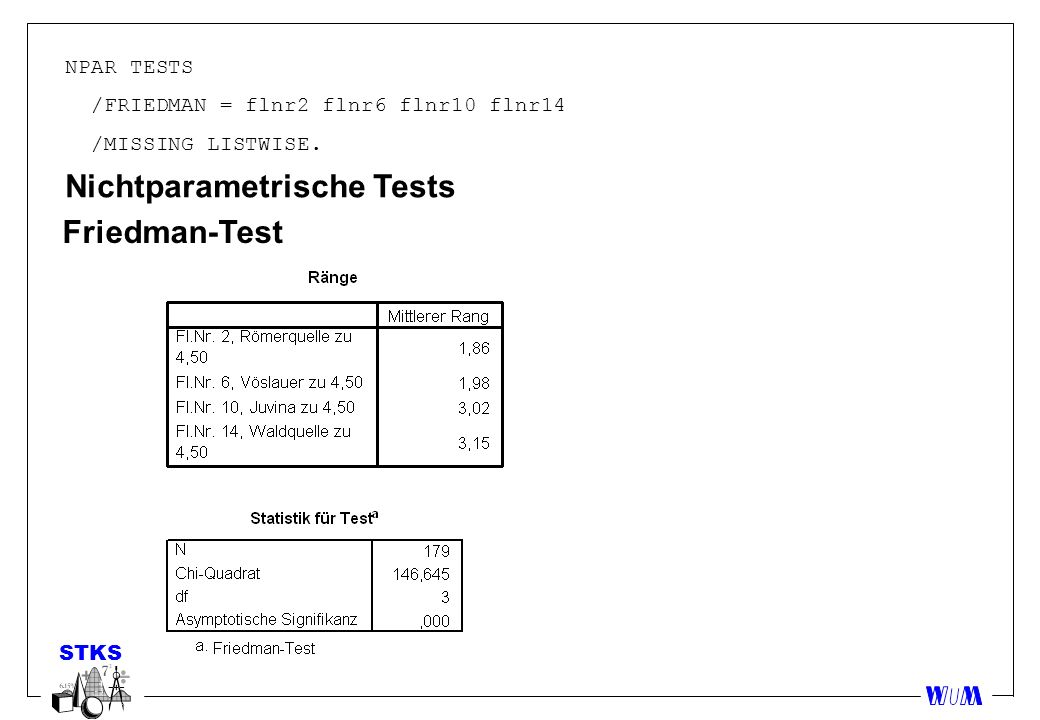 Nichtparametrische Tests Friedman-Test