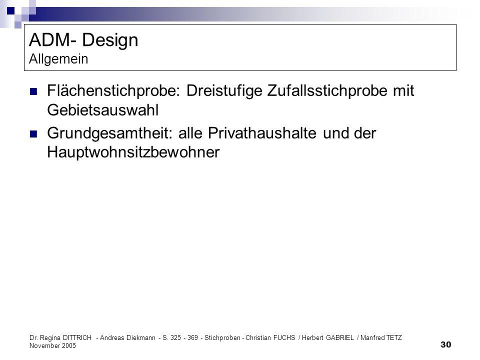 ADM- Design Allgemein Flächenstichprobe: Dreistufige Zufallsstichprobe mit Gebietsauswahl.