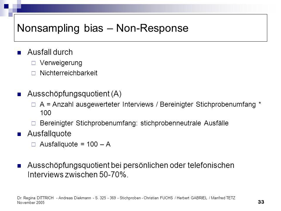 Nonsampling bias – Non-Response