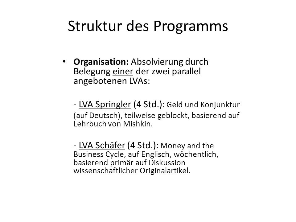 Struktur des Programms