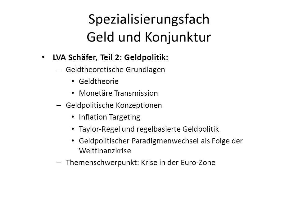 Spezialisierungsfach Geld und Konjunktur